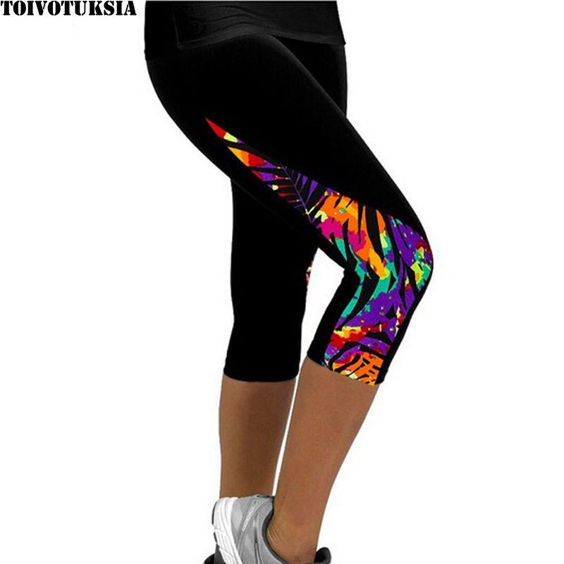 TOIVOTUKSIA Femmes Leggings Capris Noir Imprimé Lait Clzas deportivas mujer Capri Été 7 Leggins