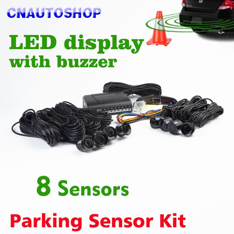 Viecar Car LED Parking Sensor Kit 8 Sensors 22mm Backlight Display Reverse Backup Radar Monitor System 12V