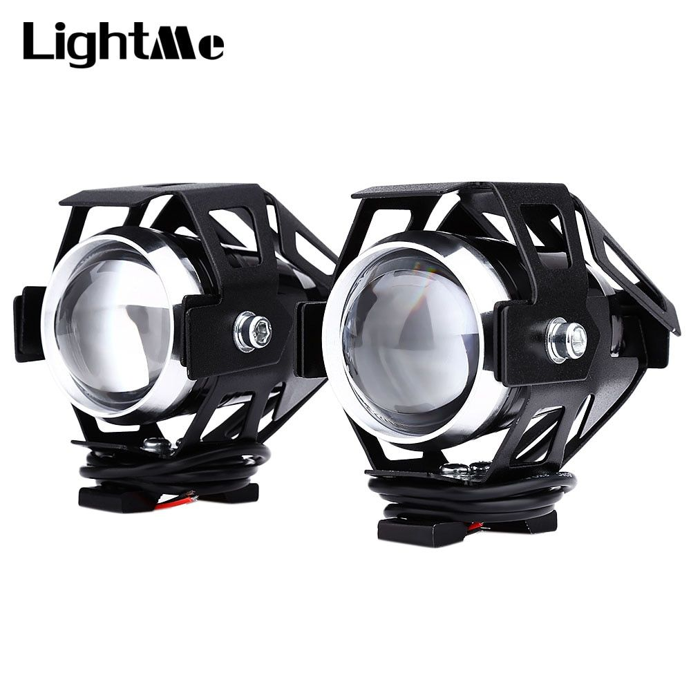 Lightme 2pcs 125W 12V 3000LM U5 LED Transform <font><b>Spotlight</b></font> Motorcycle Headlight Alloy Material High Brightness Easy to Install