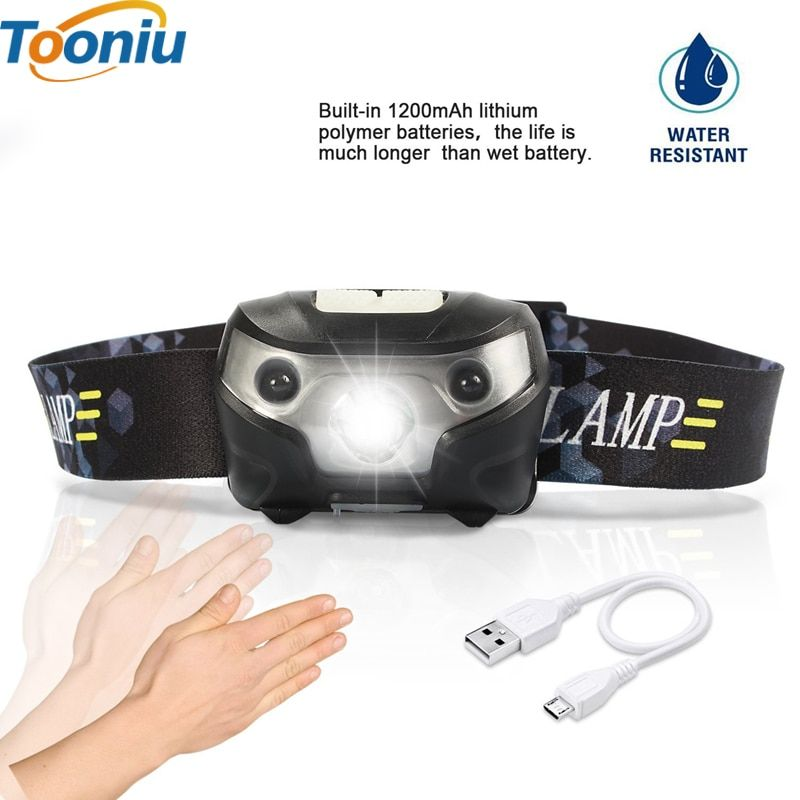 3000LM Mini Rechargeable LED HeadLamp Body Motion Sensor LED Bicycle Head Light Lamp Outdoor Camping Flashlight With USB