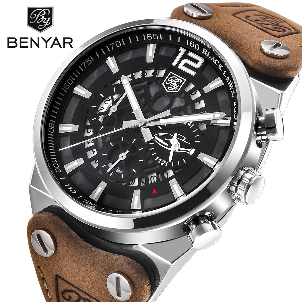 2017 <font><b>BENYAR</b></font> Chronograph Sport Mens Watches Men Fashion Brand Military waterproof Quartz Watch Man Dress Clock Relogios Masculino