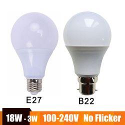 Real Power LED Lampu E27 B22 Lampu LED 100-240V 220V 110V Lampu LED Lampada Ampul bombilla 18W 15W 12W 9W 7W 5W Dingin/Hangat Putih