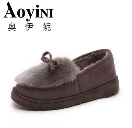 Nuevo 2018 mujeres botas de nieve gruesa invierno de la felpa caliente zapatos de moda slip on flat tobillo de las mujeres botas de algodón a prueba de agua de algodón acolchado zapatos