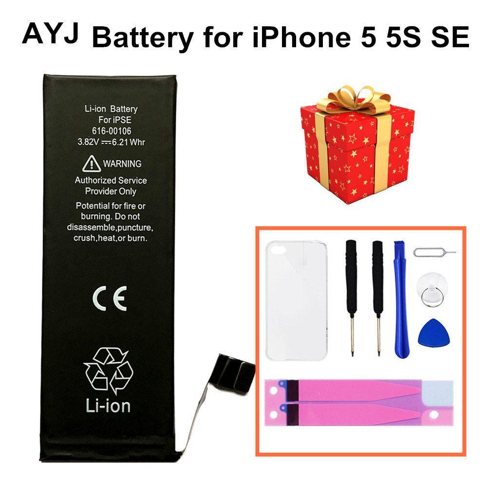 AYJ 2019 batterie de haute qualité pour iPhone 5 5S 5C SE 5SE remplacement zéro 0 Cycle gratuit Kit d'outils de réparation batterie bande TPU étui