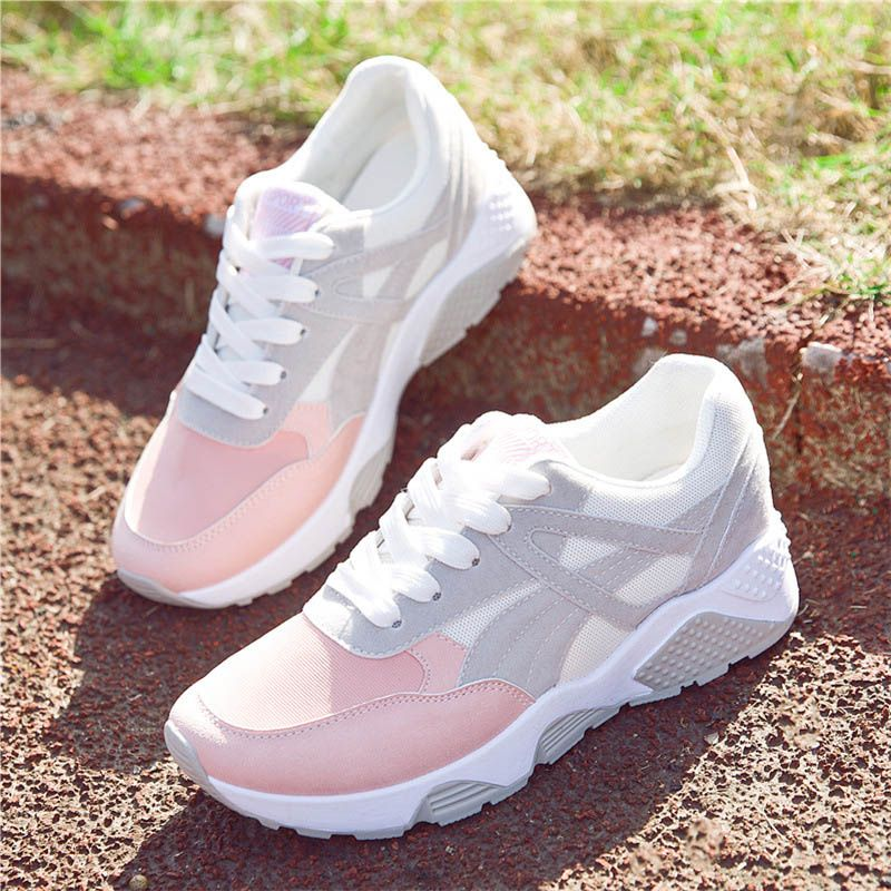 Women Sneakers Mesh Running Shoes Girls students Female Leather Sports Outdoor Gym Breathable Non-slip fitness shoes