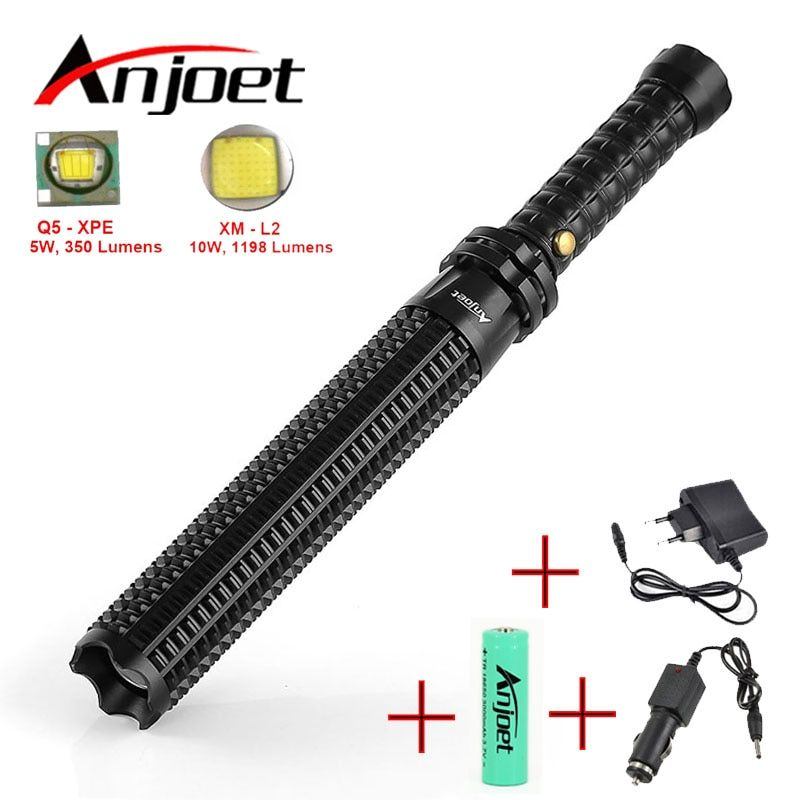Sets Powerful led Zoomable <font><b>flashlight</b></font> XML Q5/L2 Telescopic baton self defense police 1101 Patrol rechargeable flash light 18650