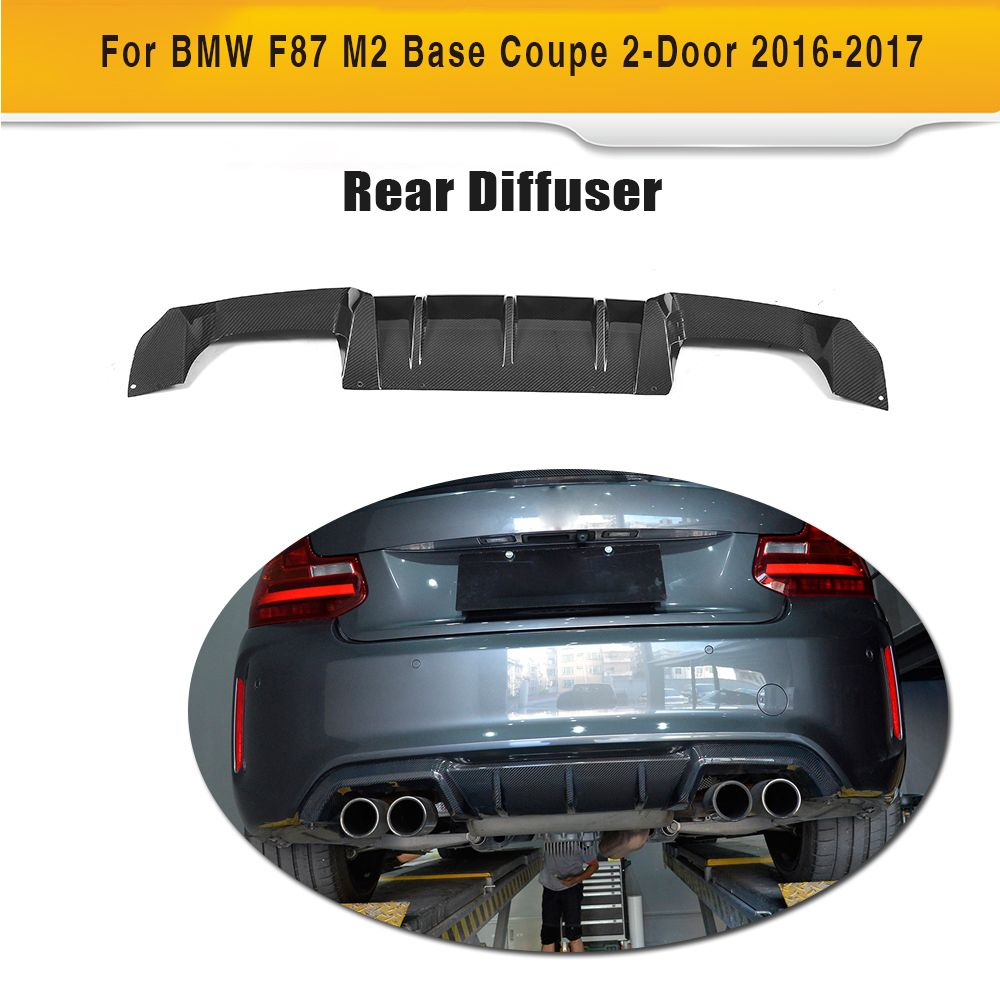 For M2 Carbon Fiber Rear Bumper Exhaust Diffuser Lip Spoiler for BMW F87 M2 Coupe 2 Door 2016 2017 Three Style