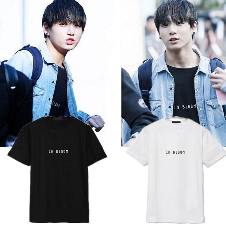KPOP bts T shirt Bangtan Boys JUNGKOOK Cartoon Logo Tshirts K-POP 2016 Fashion Classic Black White Cotton Short Sleeve T-shirts