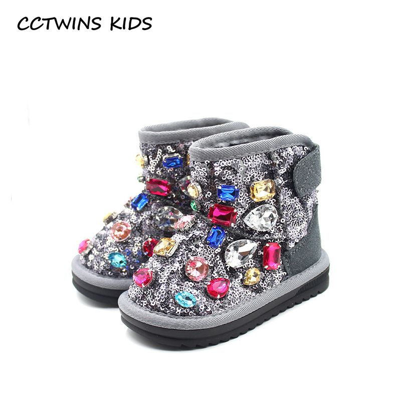 CCTWINS KIDS 2017 Kid Baby Girl Fashion Toddler Gray Snow Boot Child Brand Pearl Warm Rhinestones Black Ankle Boot CS5555