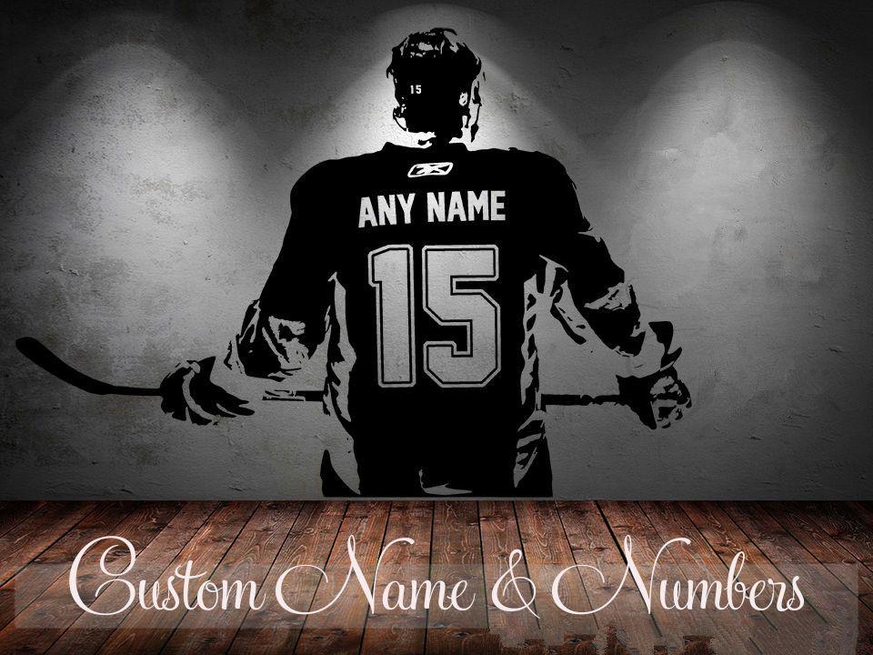Joueur de Hockey Mur art Decal autocollant Choisir Nom nombre personnalisé home decor Stickers Muraux Pour Enfants Chambre Vinilos Paredes D645