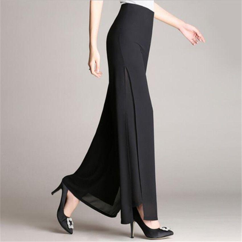 MLCRIYG High waist Double-deck Chiffon Broad leg pants Easy Pure color grace trousers female