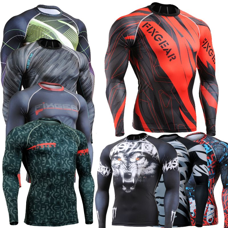 Muscle Men Compression Tight T-shirt Long Sleeves 3D Full Prints MMA Rashguard Fitness Base Layer Weight Lifting Wear Tops