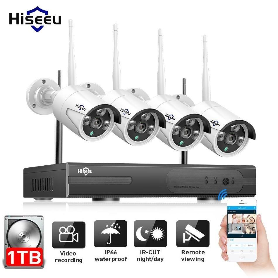 Hiseeu 4CH 960 p NVR 4 pcs IP Extérieure Caméra Sans Fil de Sécurité CCTV Système Ir-cut Vidéo Surveillance CCTV kit E-mail Alerte IP Pro
