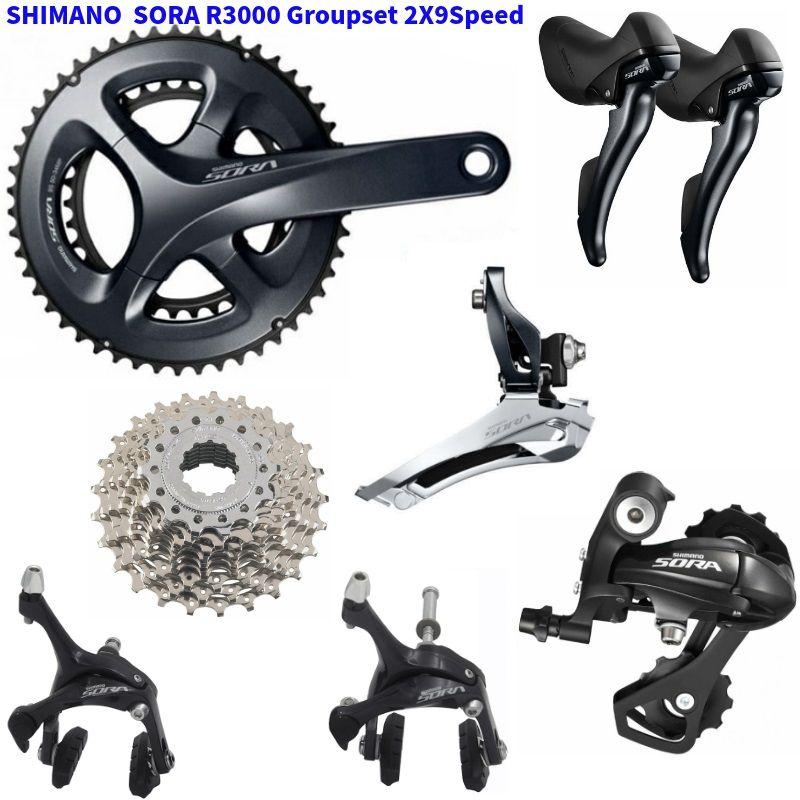 SHIMANO R3000 Groupset SORA R3000 Schaltwerke Straße Fahrrad FC + ST + FD + RD + BR + CS Vorne /Schaltwerk Shifter Brems Kassette
