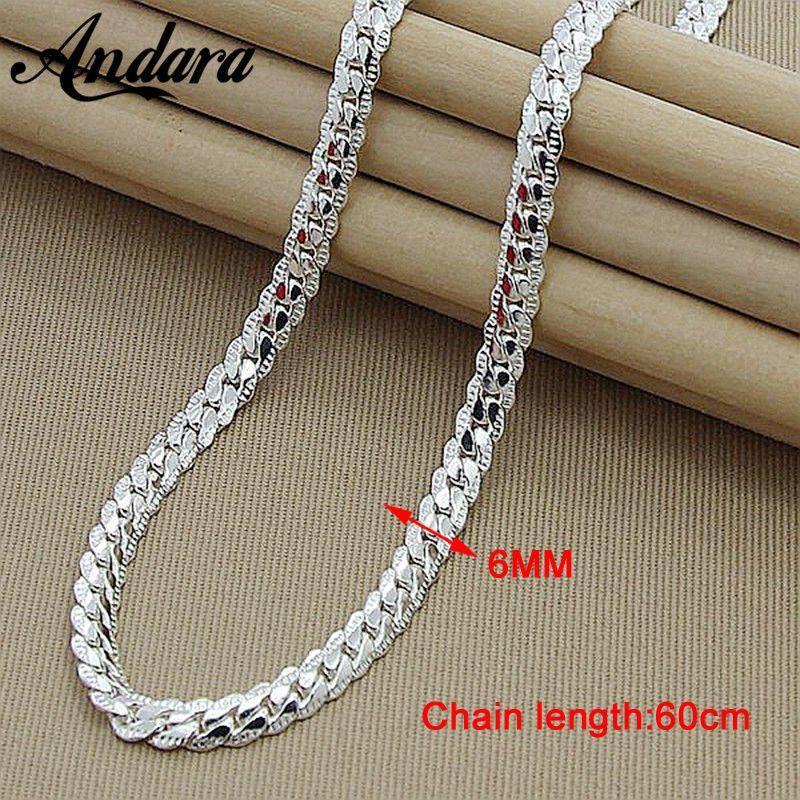 New Trendy Hommes 6 MM 60 cm Serpent de collier pour les Femmes Mode 925 Bijoux Sterling collier en argent