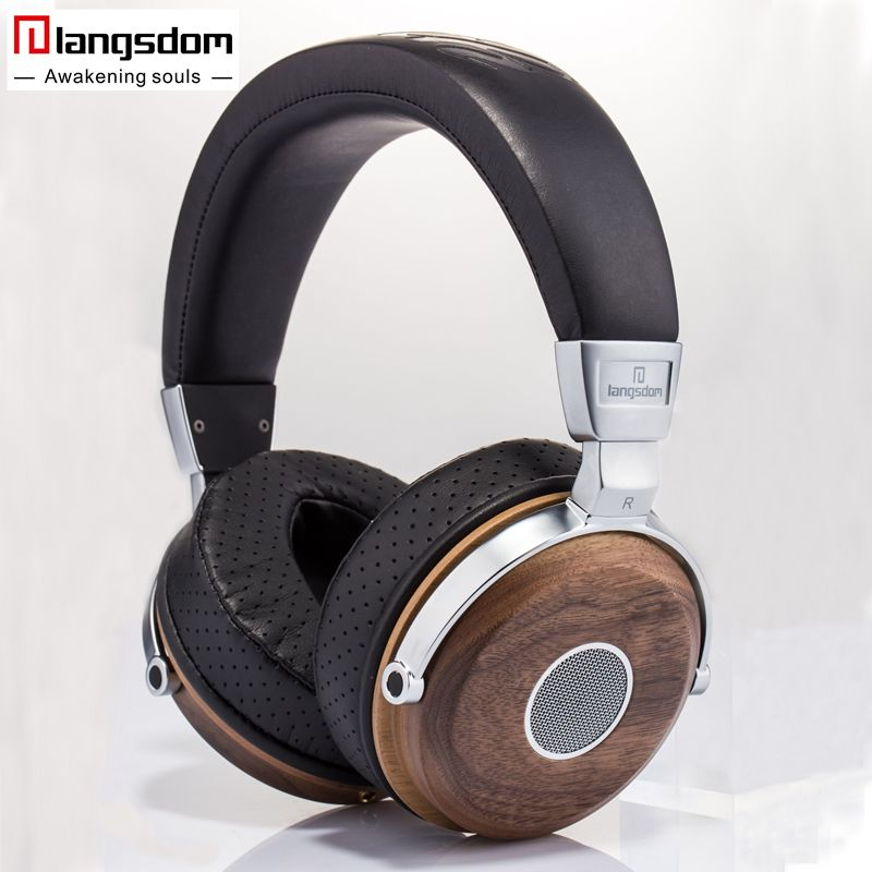 Langsdom FA890 Hifi Wooden Headphones 3.5mm Dynamic Music Earphone Soft Leather Ear-cups Noise Isolation Headset for Phone PC