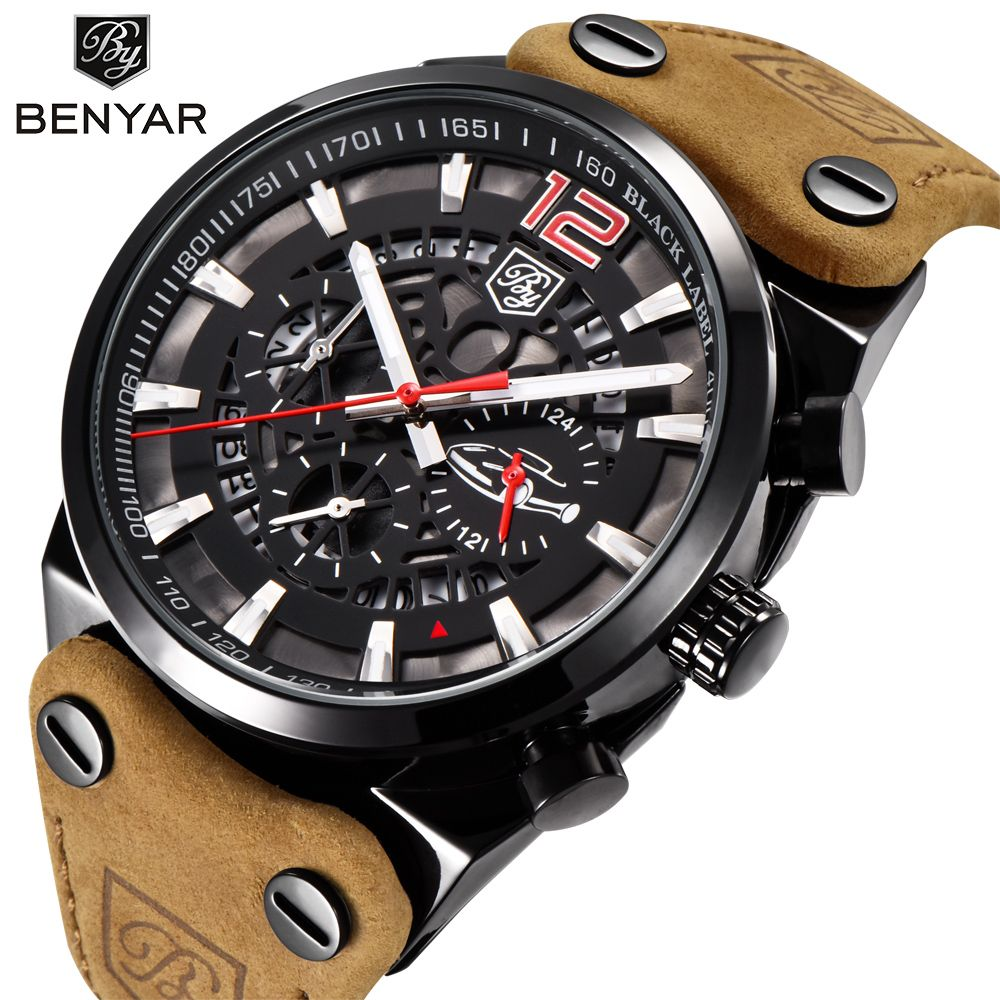 BENYAR Luxury Brand Chronograph Sport Mens Watches Fashion Military Waterproof Leather Quartz Watch Clock Men Relogio Masculino