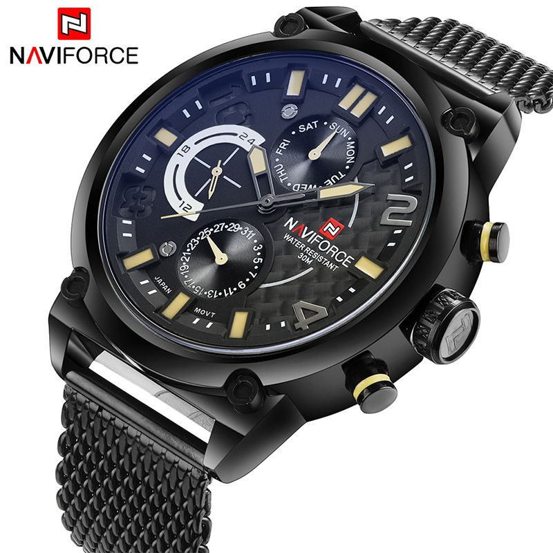 2017 NAVIFORCE Luxury Brand Men's Analog Quartz 24 Hour Date Watches Man 3ATM Waterproof Clock Men Sport Full Steel Wrist Watch