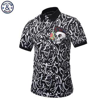 Mr.BaoLong 2017 new Brand design Polo Shirt Men Fashion style POP printed letter skull slim fit Polo shirt M-3XL PT1
