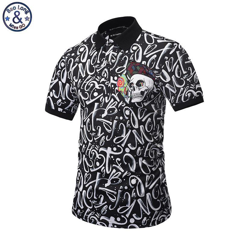 Mr. BaoLong 2017 nouvelle marque design Polo hommes mode style POP imprimé lettre crâne slim fit Polo chemise M-3XL PT1