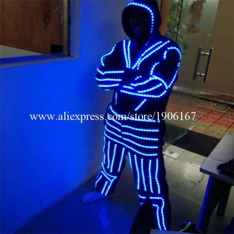 Led Leucht Kostüm Kleidung Mit Maske Für Tanzen LED Wachsen Beleuchtung Robot Anzüge Kleidung Männer Ereignis Partei Liefert