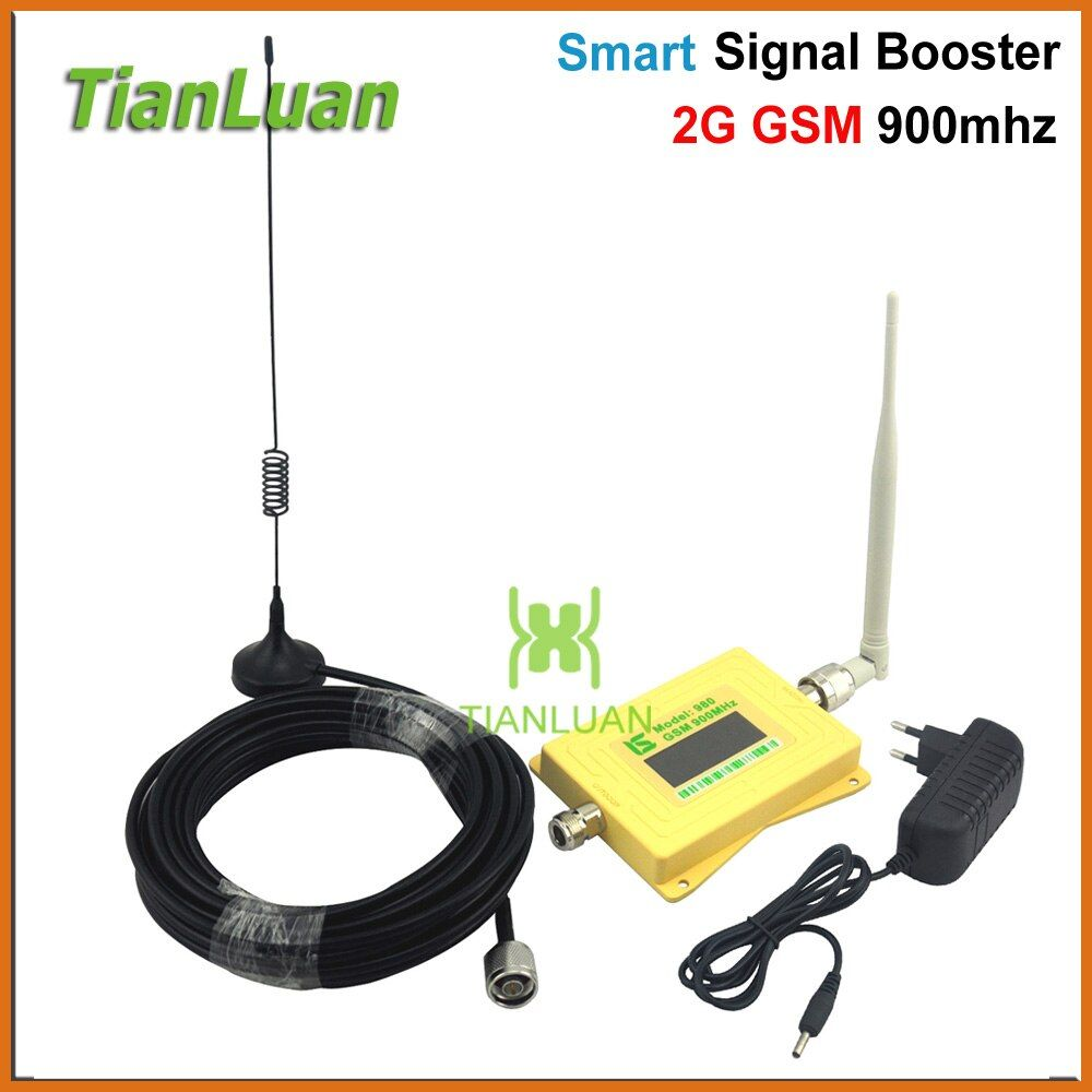 Mini Smart GSM980 Handy Signal Booster 2g GSM 900 mhz Signal Repeater GSM Booster mit Peitsche Antenne/ sucker Antenne Gelb
