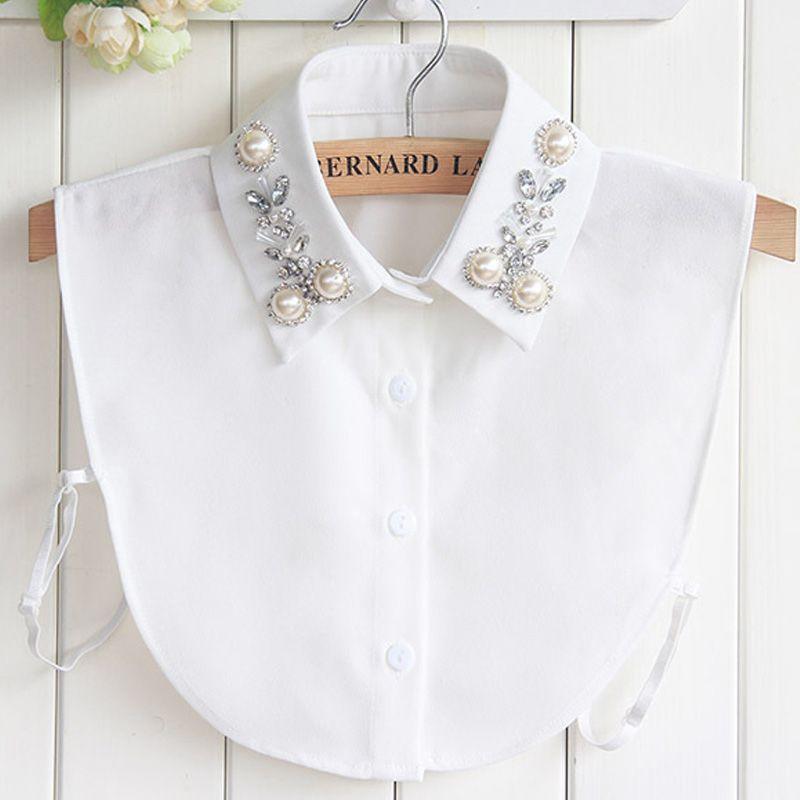 Pur coton Blouse cristal perles broderie fleur blanche géométrique Original corée du sud automne hiver nouveau faux col de chemise