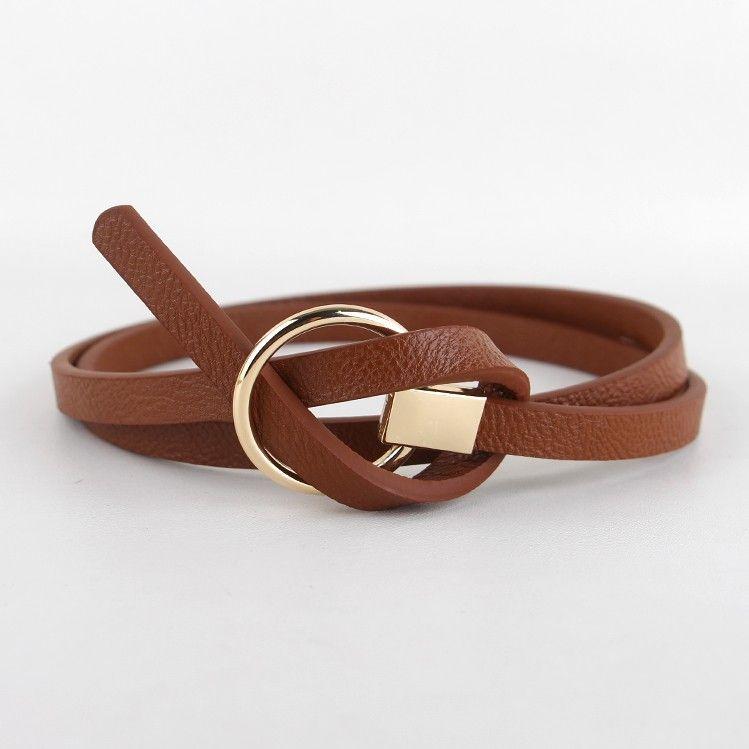 Nouveau Design ceintures femmes ceinture nouée taille mince mode coréenne petite ceinture femme robe décorer marron cuir boucle ronde cadeaux