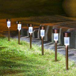 LED Surya Lampu Taman Luar Rumput Lampu Sensor Tahan Air Lampu Penerangan Jalan Dengan Baterai Energi Stainless Steel Dekoratif