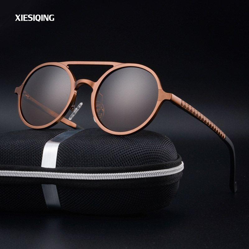 2017 New Women <font><b>Retro</b></font> Round Aluminum magnesium Frame Sunglasses Brand Designer Men Round Sunglasses Polarizes oculos de sol