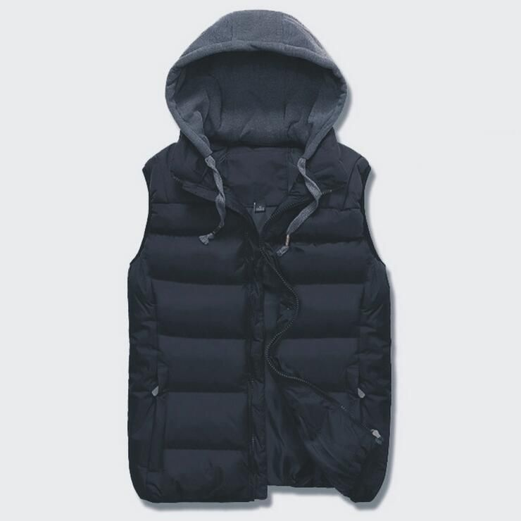 RICHARDROGER Vest Men Winter Sleeveless Jackets Casual Solid Thick Warm Vests Men Hooded Coats Male Cotton-Padded Waist A11
