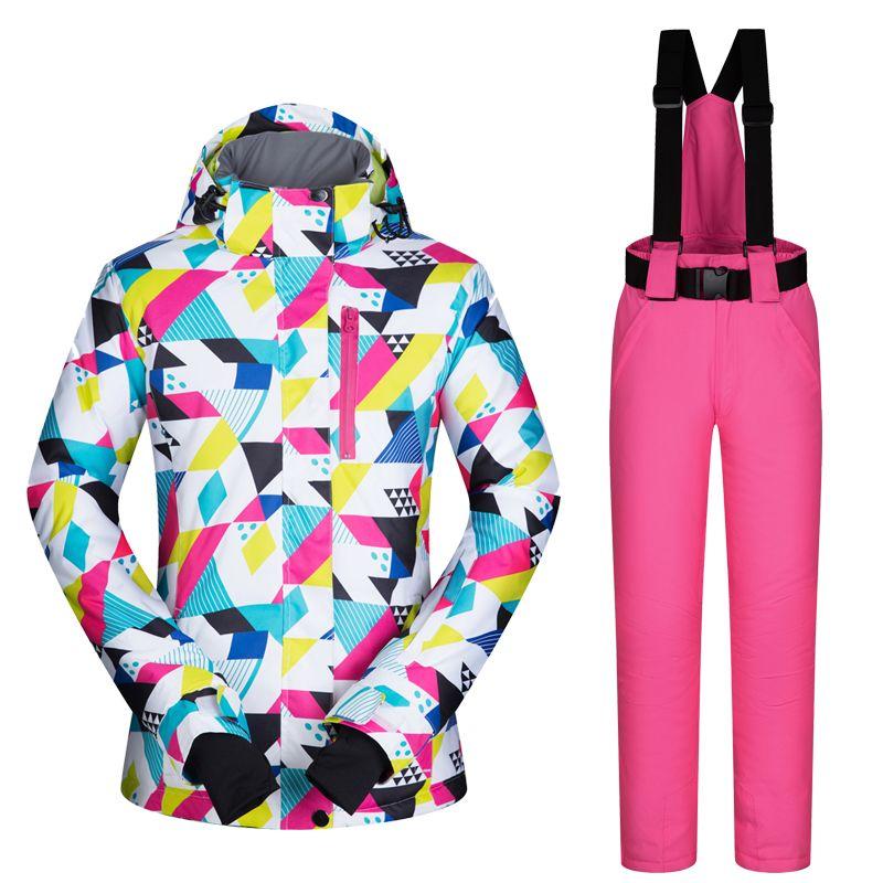 2017new высокое качество Для женщин лыжный костюм комплект ветрозащитный Водонепроницаемый тепло сноуборд Куртки и Брюки для девочек зимние с...