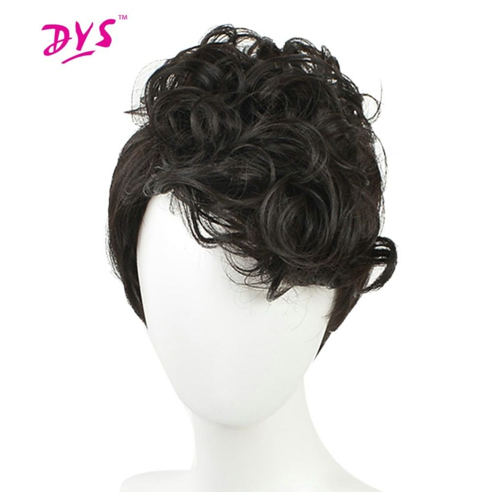 Deyngs Natural Short Wigs For Black White Women Synthetic Hair Pixie Cut Afro Kinky Curly Ladies Wigs Black Color With Bangs