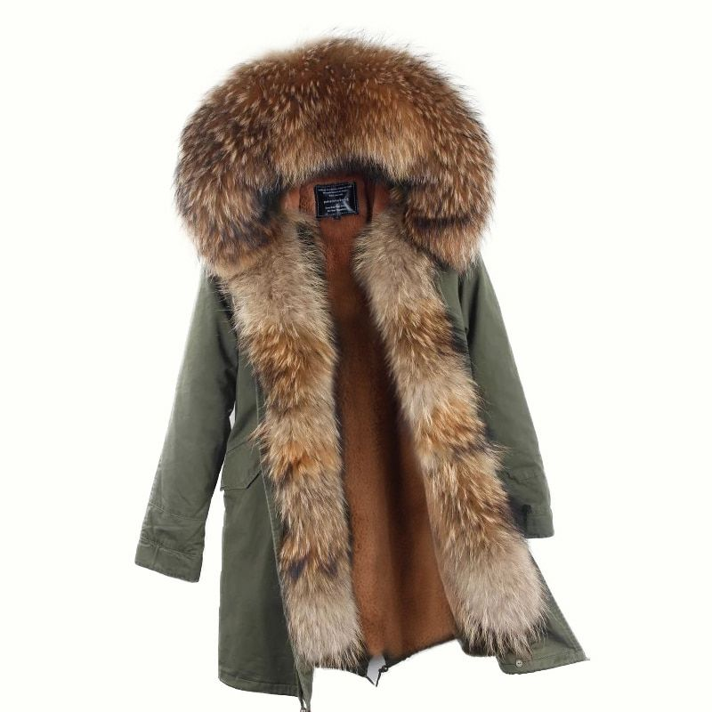 2017 new winter long jacket parkas Camouflage Army green raccoon fur collar hooded parkas thick coat real fur