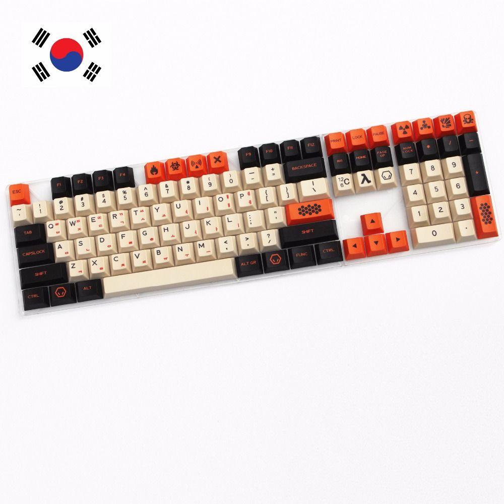 Carbone 125 CLÉ PBT keycap à la Sublimation Thermique Coréen Caractères Cerise MX interrupteur Keycap pour Mécanique clavier de jeu
