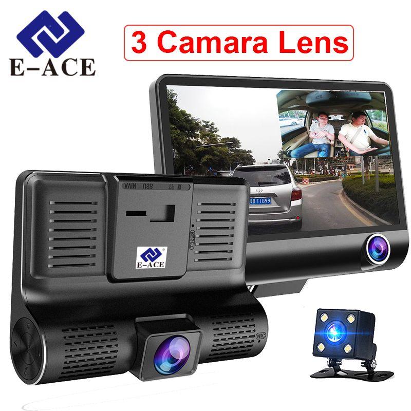 E-ACE Car Dvr 3 Camera Lens 4.0 Inch Video Recorder Dash Cam Auto Registrator Dual Lens With Rear View Camera DVRS Camcorder