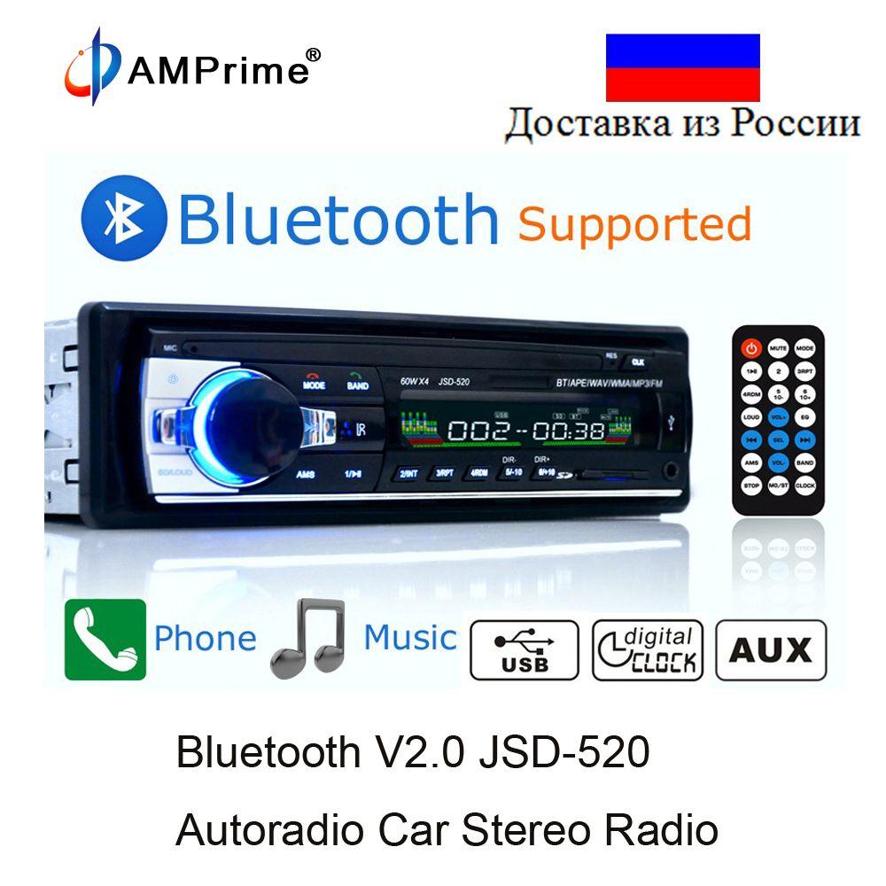 AMPrime Bluetooth Autoradio De Voiture Stéréo Radio FM Entrée Aux Récepteur SD USB JSD-520 12 v En-dash 1 din voiture MP3 Lecteur Multimédia