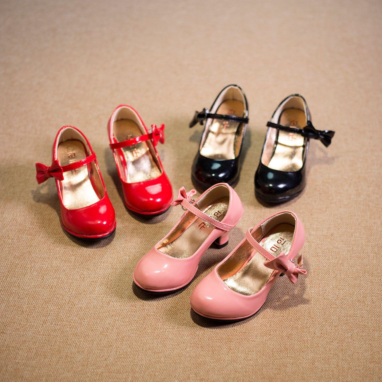 Обувь для детей девочек квартиры для детей 2018 Демисезонный девушка Обувь на высоком каблуке принцесса Лян кожаные туфли красный розовый ...