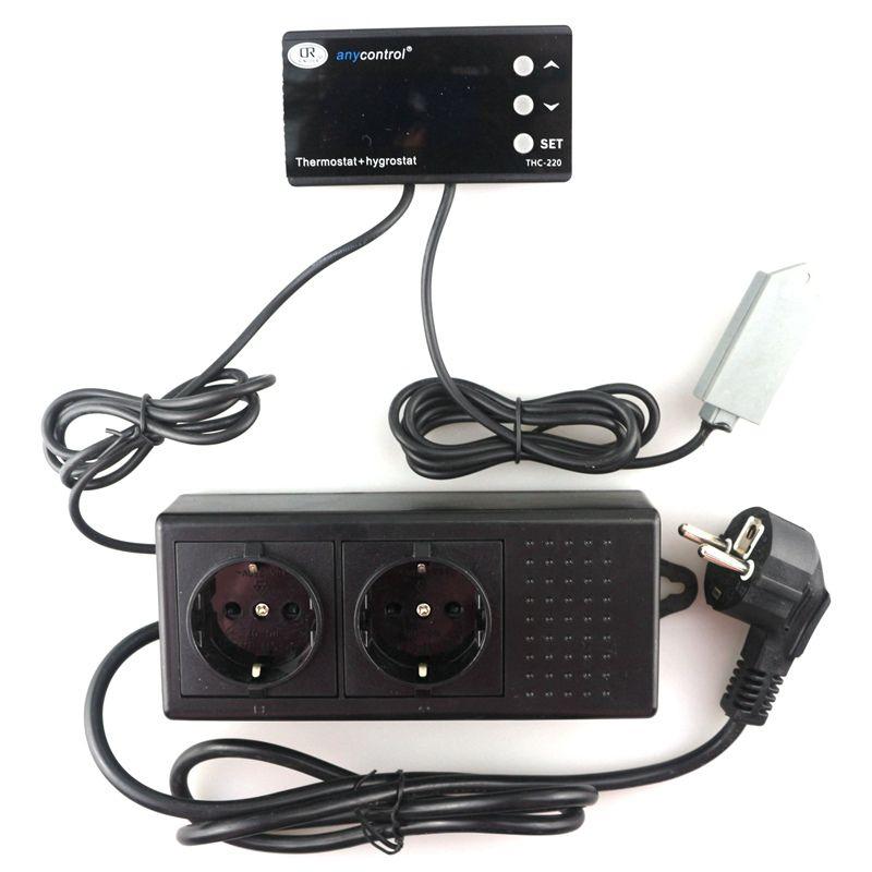 Digital Temperature Humidity Controller Outlet Relay Thermostat Hygromstat Regulator 220V 10A THC-220EU Blue LCD EU Plug