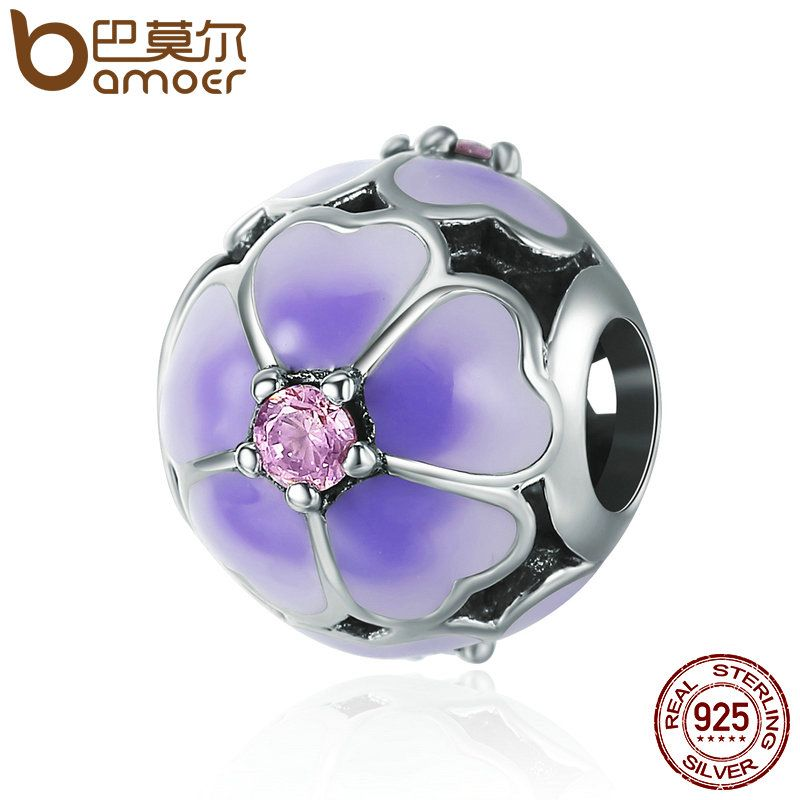 BAMOER High Quality 925 Sterling Silver Daisy Cherry Enamel Flower Beads fit Women Charm Bracelet Sterling Silver Jewelry SCC389