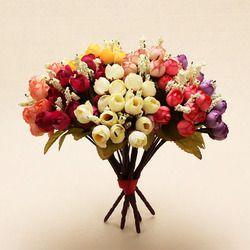 15 cabezas Mini Rosa Flores de seda de colores flores artificiales decoración para el hogar Decoración de rosas pequeños ramo flor pantalla