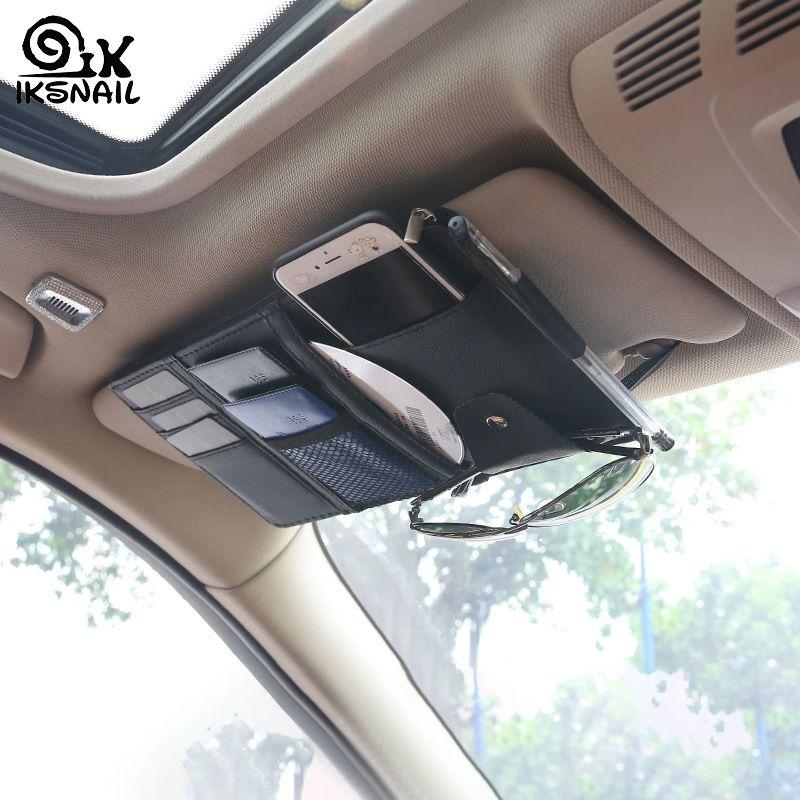 IKSNAIL Auto Car Accessories Sunglasses Clip Car Storage Bag Multifunctional Sun Visor Bill Business Card Holder Storage Box