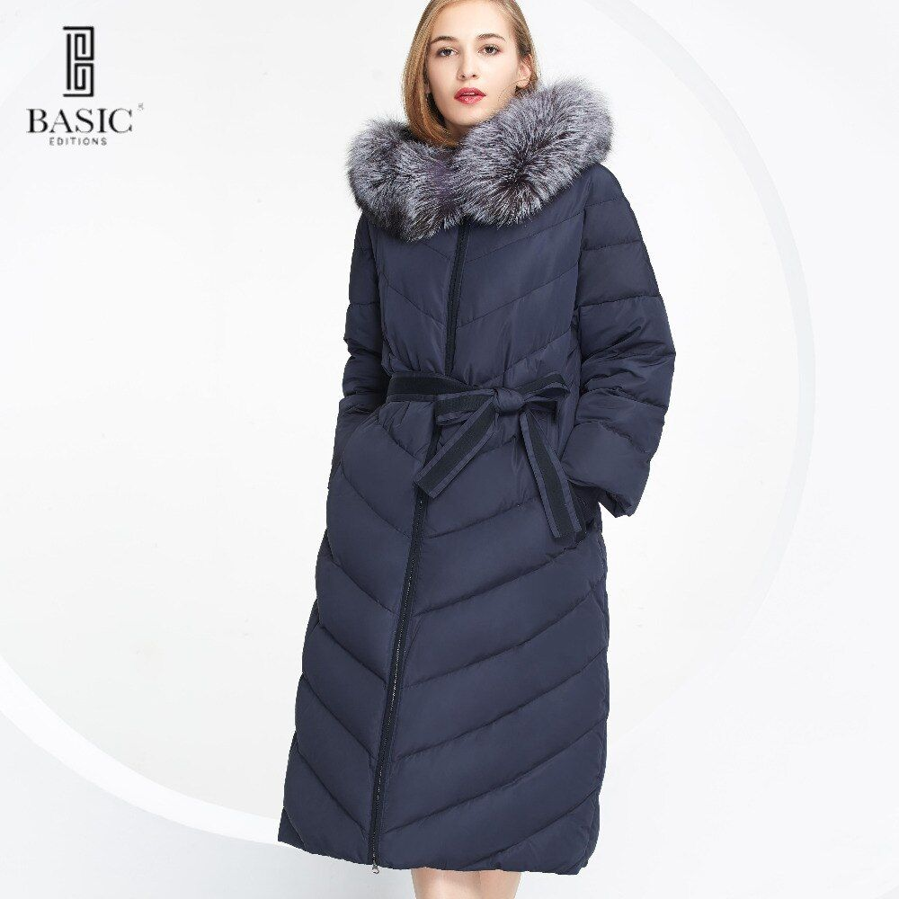 BASIC-EDITIONS New Women Winter Long Parka Down Coat Fox Fur Hood Belt Wide Waist White Duck Down Jacket - WY049