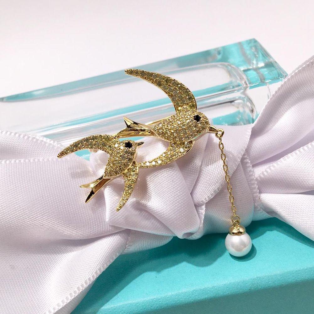 925 silber schöne volle diamant doppel fliegenden schwalbe hängen perle brosche für frau
