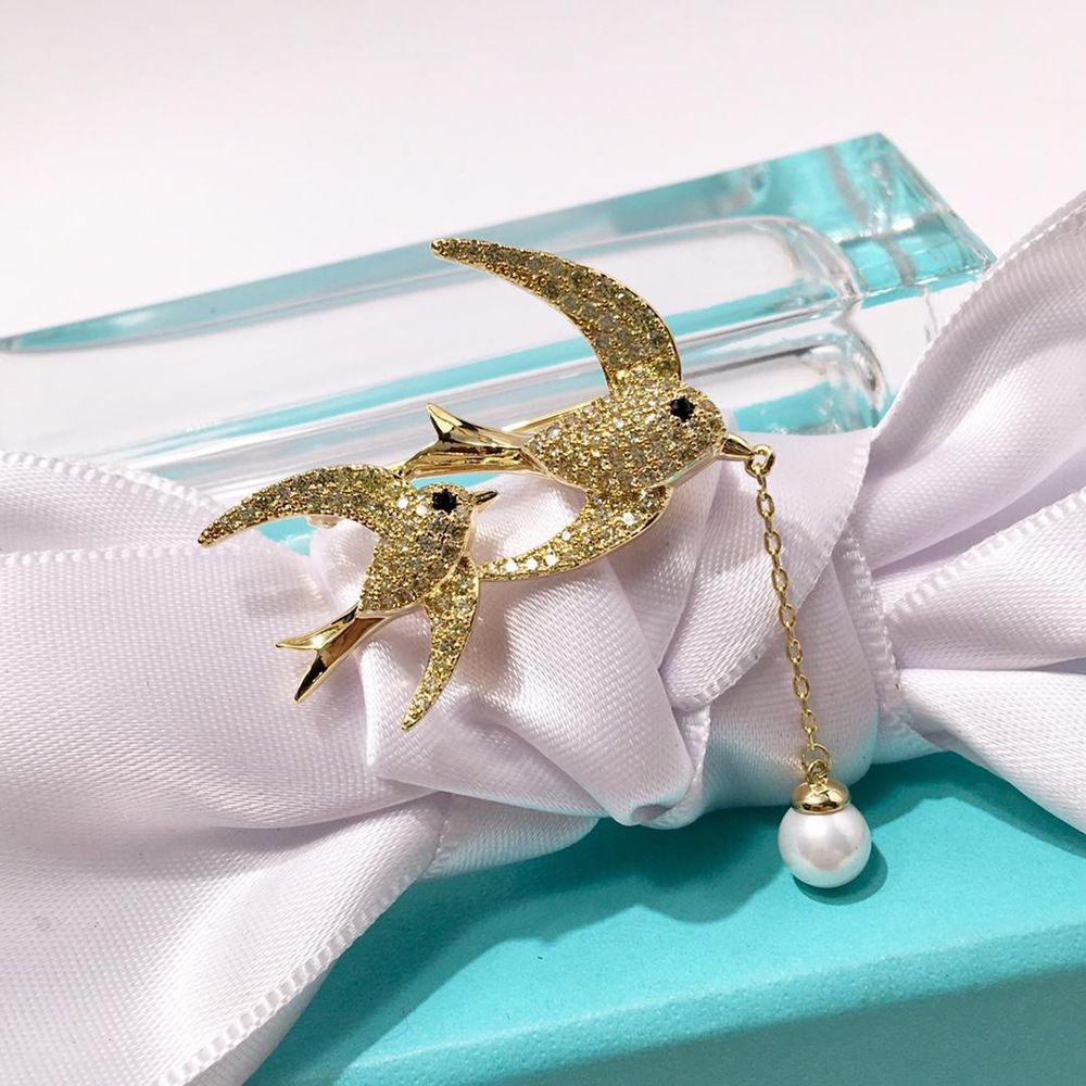 925 silver beautiful full diamond double flying swallow hanging pearl brooch for woman