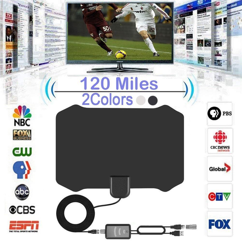 Nouveau 120 Miles Numérique HDTV Intérieure Antenne TV avec Amplificateur À Gain Élevé Signal Booster TVFox Antena HD TV Antennes Aérienne TV Bâton