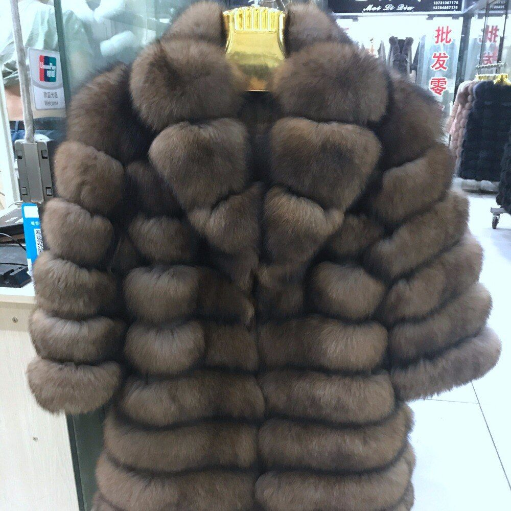 Anzug kragen Winter Echt Fuchs Pelz Mantel Dicke Warme Nachahmung Sables frauen Licht Braun Lange Jacke Der fuchs pelz mantel