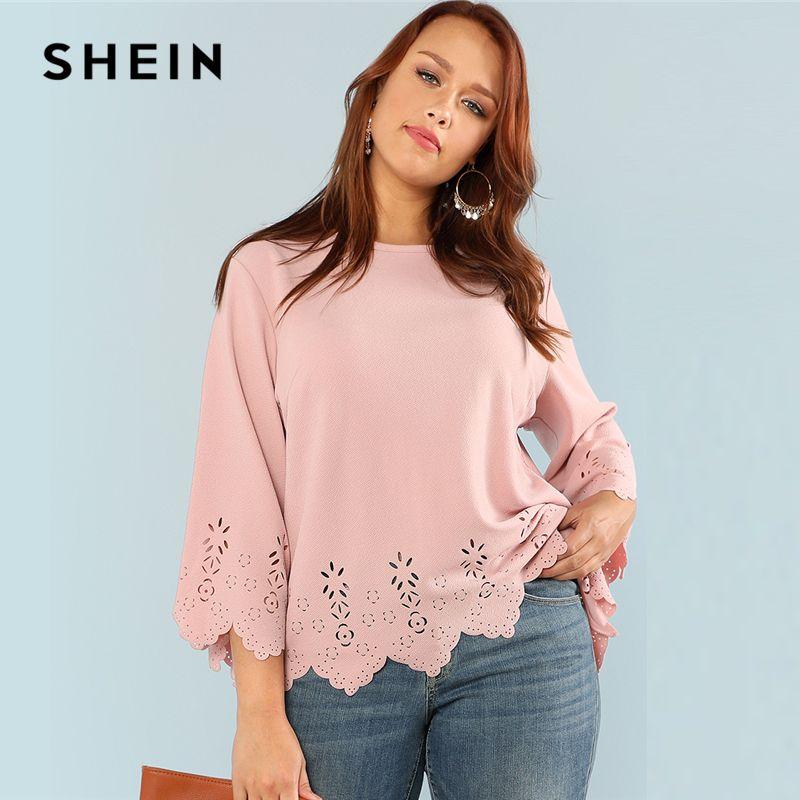 SHEIN Laser Cut Solid Top 2018 Summer Round <font><b>Neck</b></font> Three Quarter Length Flounce Sleeve Plus Size Blouse Women Elegant Pink Top