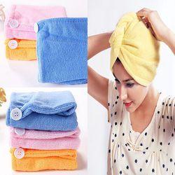 2017 nuevas mujeres microfibra absorbente toalla turbante de pelo de secado ducha Albornoz sombrero multi colores pelo envolturas para las mujeres