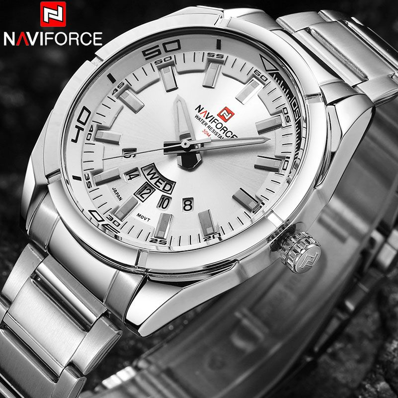 NAVIFORCE Brand Men Watches Luxury Sport Quartz 30M Waterproof Watches Men's Stainless Steel Band Auto Date Wristwatches Relojes